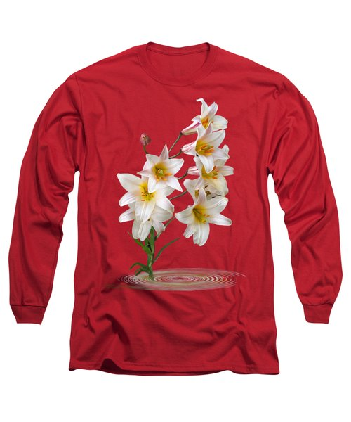 Cascade Of Lilies On Black Long Sleeve T-Shirt by Gill Billington