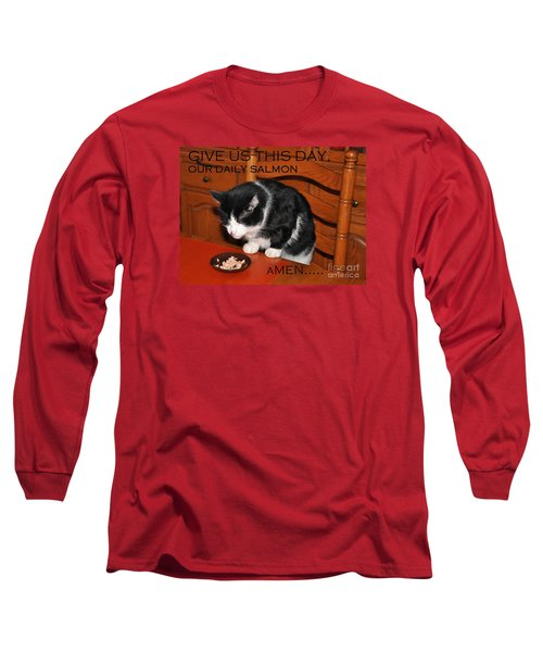 Cat's Prayer Revisited By Teddy The Ninja Cat Long Sleeve T-Shirt