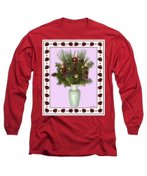 Long Sleeve T-Shirt featuring the digital art Celadon Vase With Christmas Bouquet by Lise Winne