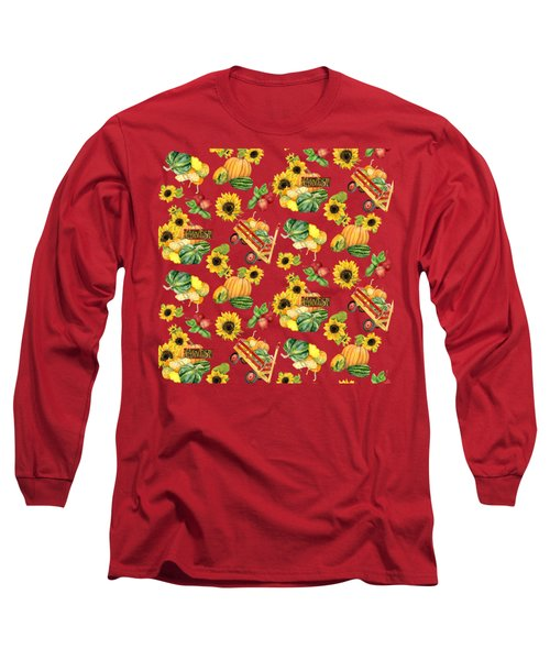 Long Sleeve T-Shirt featuring the painting Celebrate Abundance Harvest Half Drop Repeat by Audrey Jeanne Roberts