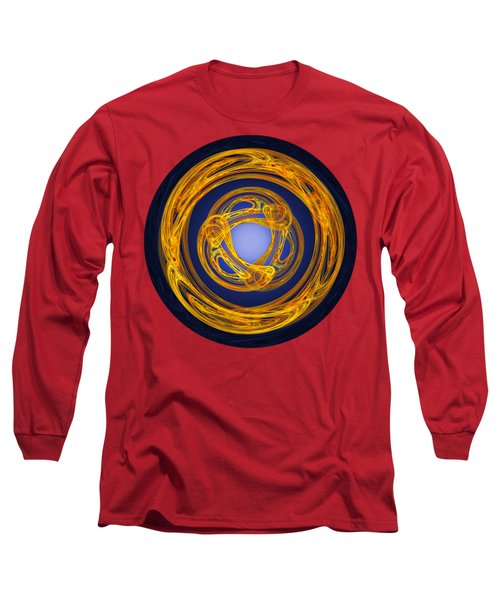 Long Sleeve T-Shirt featuring the digital art Celtic Abstract On Blue by Jane McIlroy