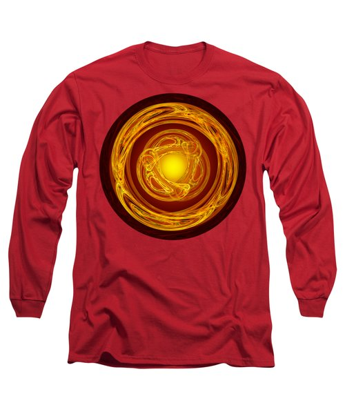 Celtic Abstract On Red Long Sleeve T-Shirt by Jane McIlroy