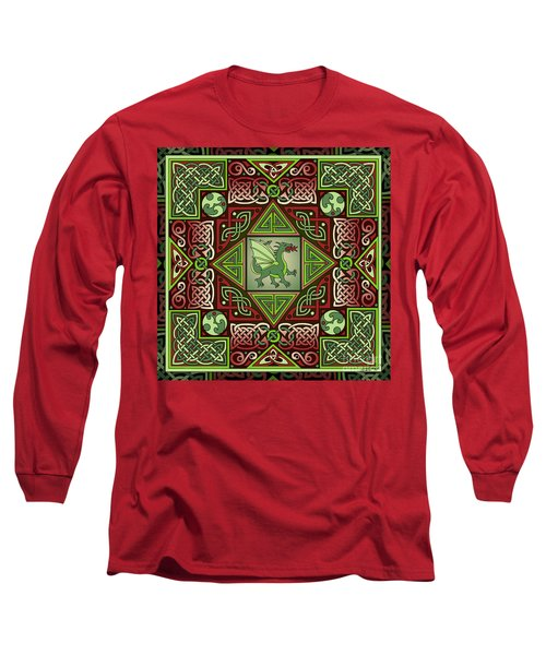 Long Sleeve T-Shirt featuring the mixed media Celtic Dragon Labyrinth by Kristen Fox