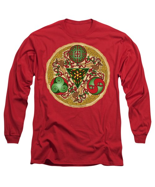 Long Sleeve T-Shirt featuring the mixed media Celtic Reindeer Shield by Kristen Fox