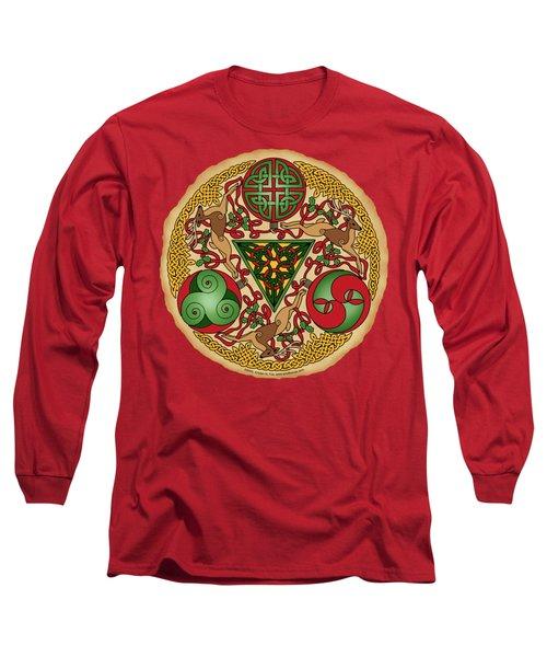 Celtic Reindeer Shield Long Sleeve T-Shirt by Kristen Fox
