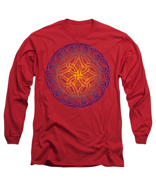 Long Sleeve T-Shirt featuring the mixed media Celtic Shield by Kristen Fox