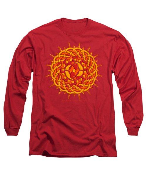 Long Sleeve T-Shirt featuring the mixed media Celtic Sun by Kristen Fox