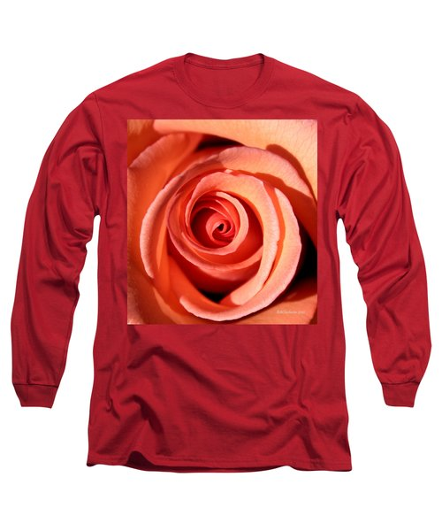 Long Sleeve T-Shirt featuring the photograph Center Of The Peach Rose by Barbara Chichester