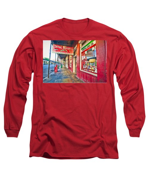 Long Sleeve T-Shirt featuring the photograph Central Grocery And Deli In The French Quarter by Andy Crawford
