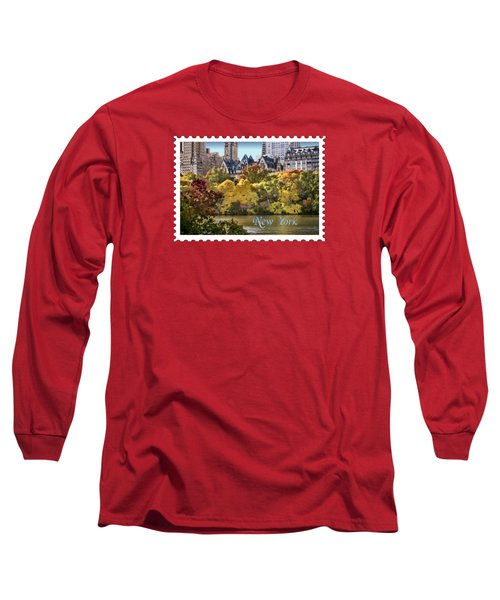 Central Park Lake In Fall Text New York Long Sleeve T-Shirt by Elaine Plesser