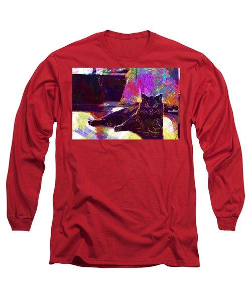 Long Sleeve T-Shirt featuring the digital art Chartreux Cat Animals Pet Mieze  by PixBreak Art
