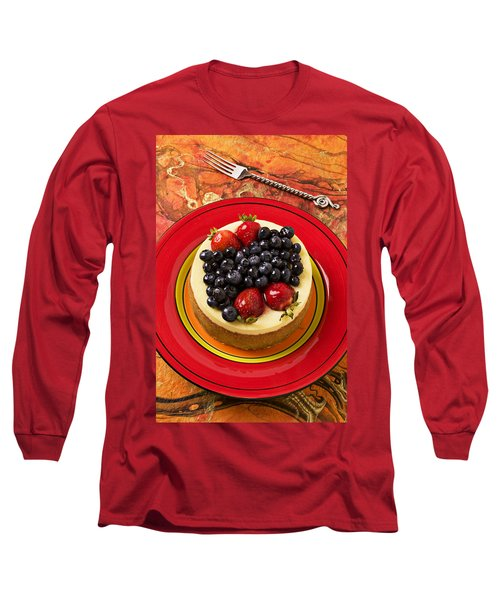Cheesecake On Red Plate Long Sleeve T-Shirt by Garry Gay