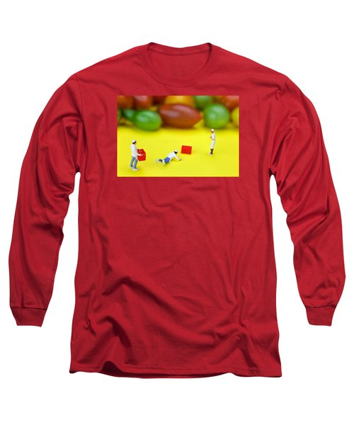 Long Sleeve T-Shirt featuring the painting Chef Tumbled In Front Of Colorful Tomatoes Little People On Food by Paul Ge