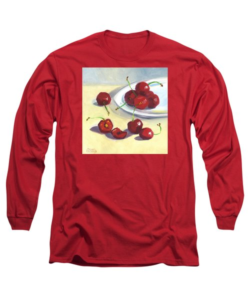 Cherries On A Plate Long Sleeve T-Shirt by Susan Thomas