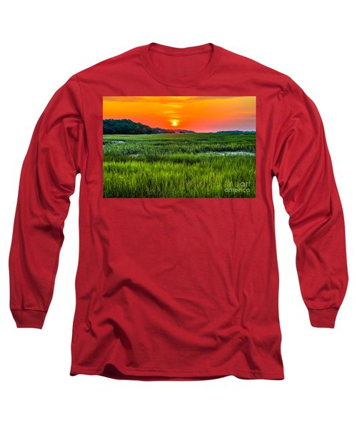Cherry Grove Marsh Sunrise Long Sleeve T-Shirt by David Smith