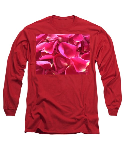 Cherry Pink Rose Petals Long Sleeve T-Shirt