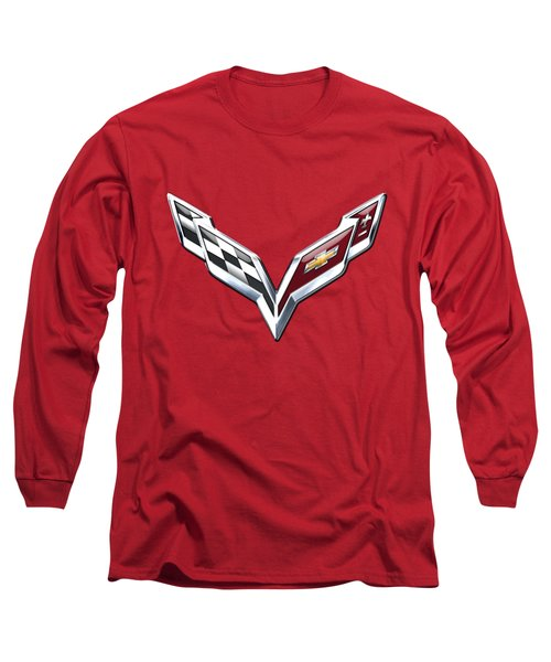 Chevrolet Corvette - 3d Badge On Red Long Sleeve T-Shirt by Serge Averbukh