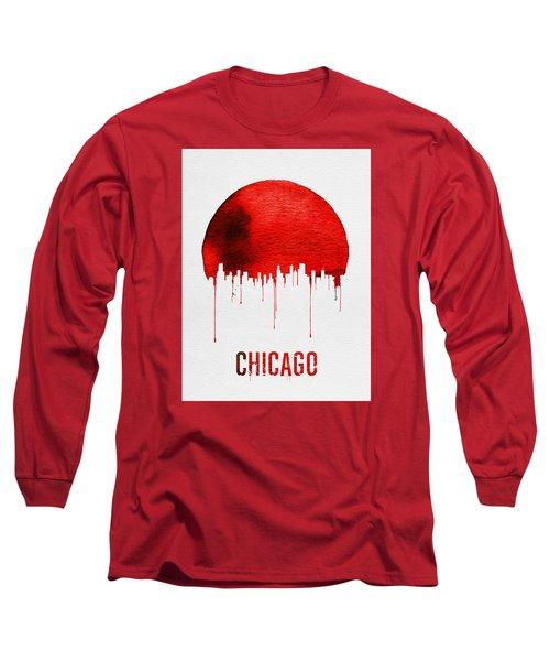 Chicago Skyline Red Long Sleeve T-Shirt by Naxart Studio