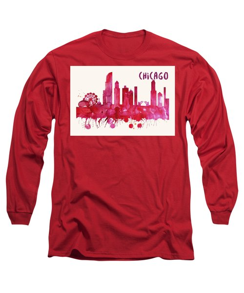 Chicago Skyline Watercolor Poster - Cityscape Painting Artwork Long Sleeve T-Shirt