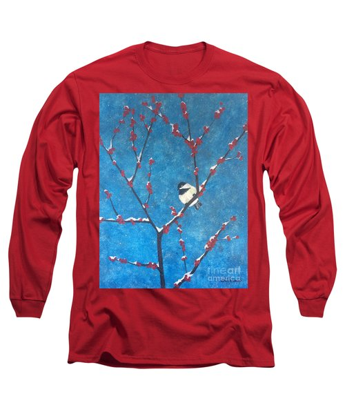 Long Sleeve T-Shirt featuring the painting Chickadee Bird by Denise Tomasura
