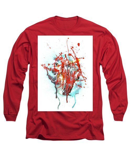 Children Of Light - Colorful Bright Read And Blue Abstract Art Painting Long Sleeve T-Shirt