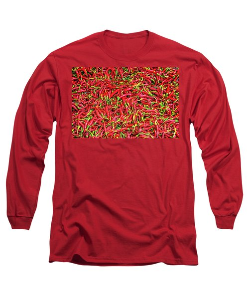 Long Sleeve T-Shirt featuring the photograph Chillies by Charuhas Images