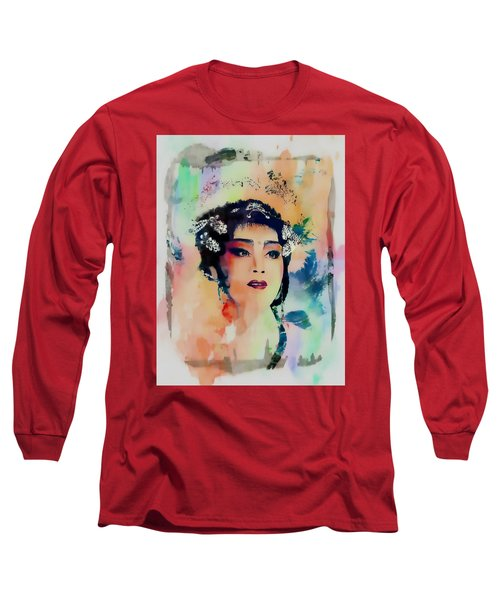 Chinese Cultural Girl - Digital Watercolor  Long Sleeve T-Shirt