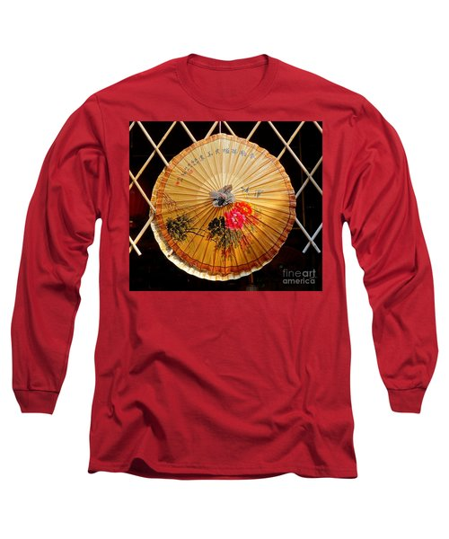 Long Sleeve T-Shirt featuring the photograph Chinese Hand-painted Oil-paper Umbrella by Yali Shi