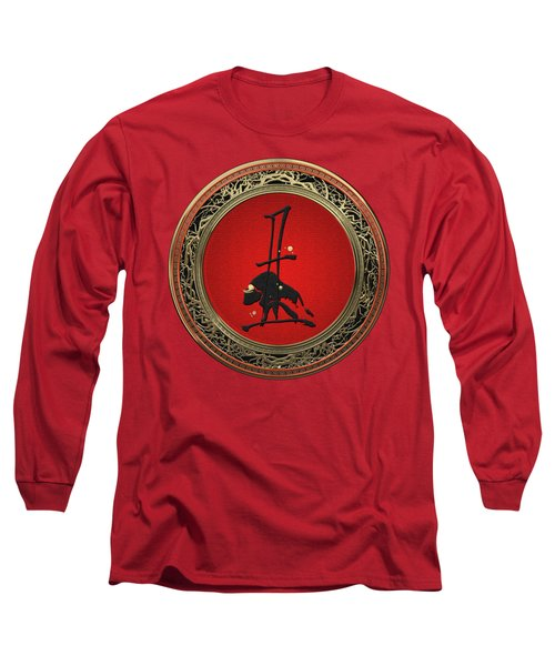 Chinese Zodiac - Year Of The Ox On Red Velvet Long Sleeve T-Shirt