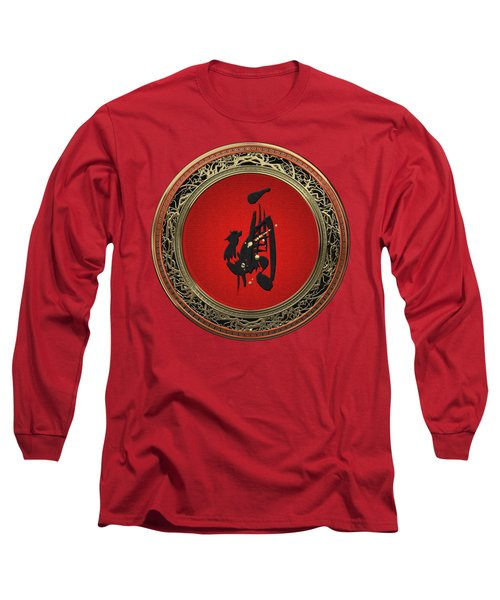 Chinese Zodiac - Year Of The Rooster On Red Velvet Long Sleeve T-Shirt
