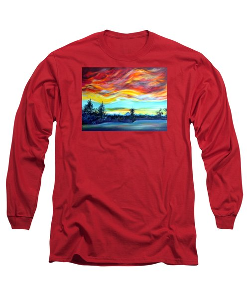 Long Sleeve T-Shirt featuring the painting Chinook Arch Over Bow River by Anna  Duyunova