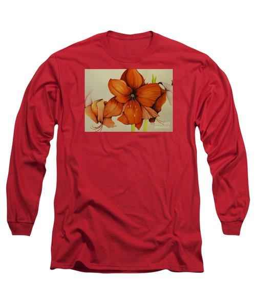 Christmas Amaryllis Long Sleeve T-Shirt by Rachel Lowry
