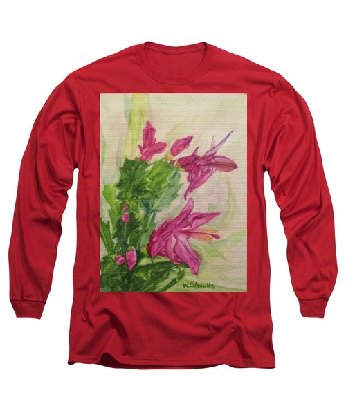 Christmas Cactus Long Sleeve T-Shirt by Wendy Shoults