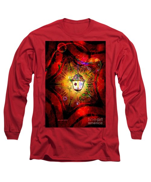 Christmas Lantern And Christmas Star Long Sleeve T-Shirt by Annie Zeno