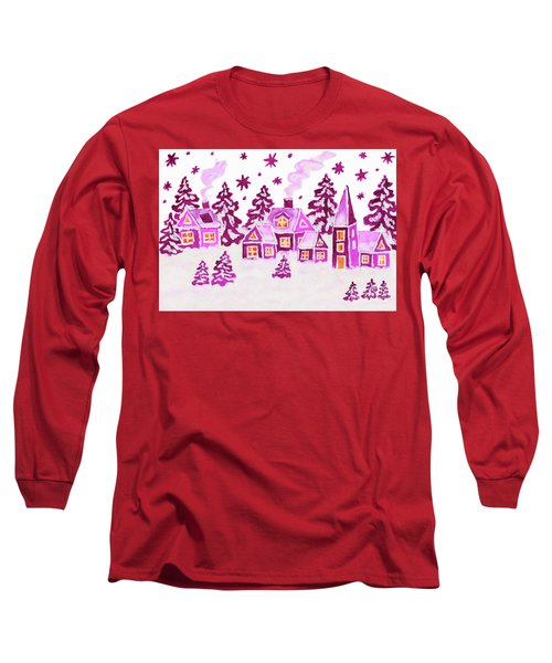 Christmas Picture In Pink Colours Long Sleeve T-Shirt