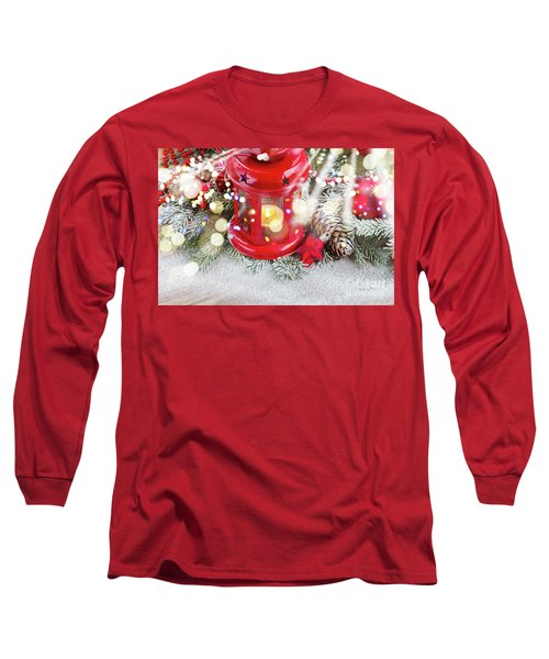 Christmas Red Lantern  Long Sleeve T-Shirt by Anastasy Yarmolovich