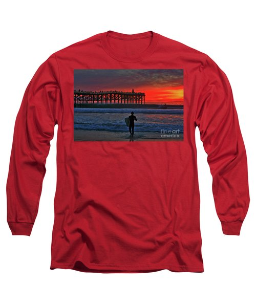 Christmas Surfer Sunset Long Sleeve T-Shirt
