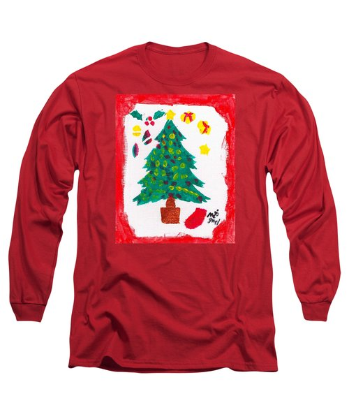Long Sleeve T-Shirt featuring the painting Christmas Tree by Artists With Autism Inc