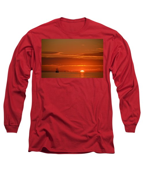 Christopher Columbus Replica Wooden Sailing Ship Nina Sails Off Into The Sunset Long Sleeve T-Shirt by Jeff at JSJ Photography