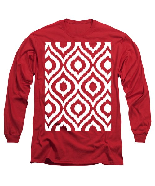 Circle And Oval Ikat In White N03-p0100 Long Sleeve T-Shirt