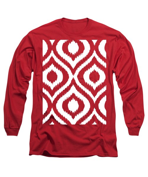 Circle And Oval Ikat In White T02-p0100 Long Sleeve T-Shirt
