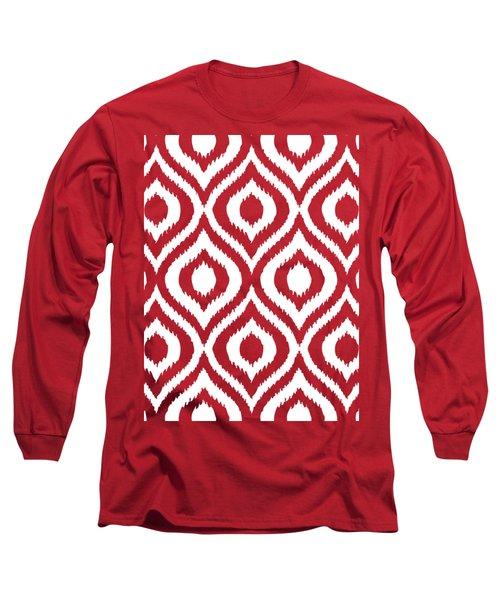 Circle And Oval Ikat In White T03-p0100 Long Sleeve T-Shirt