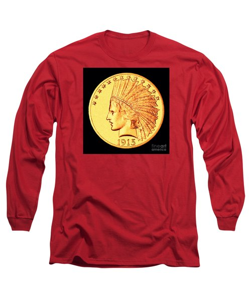 Classic Indian Head Gold Long Sleeve T-Shirt by Jim Carrell