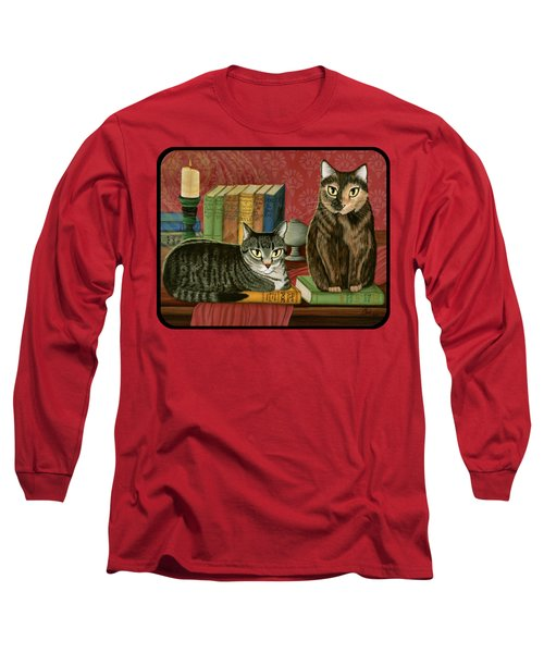 Long Sleeve T-Shirt featuring the painting Classic Literary Cats by Carrie Hawks