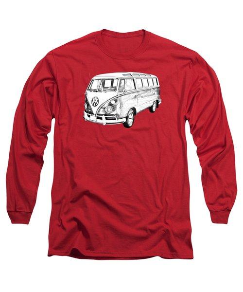 Classic Vw 21 Window Mini Bus Illustration Long Sleeve T-Shirt by Keith Webber Jr