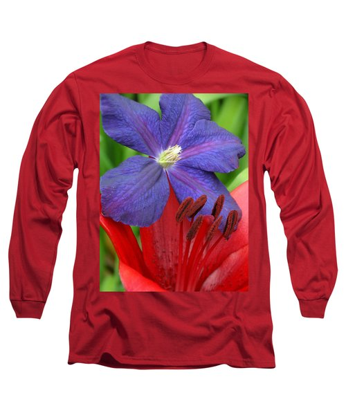Long Sleeve T-Shirt featuring the photograph Clematis And Lily by Rebecca Overton