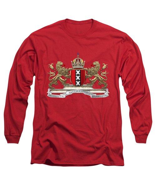 Coat Of Arms Of Amsterdam Over Red Velvet Long Sleeve T-Shirt