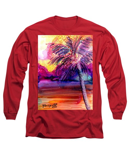 Long Sleeve T-Shirt featuring the painting Coconut Palm Tree 2 by Marionette Taboniar