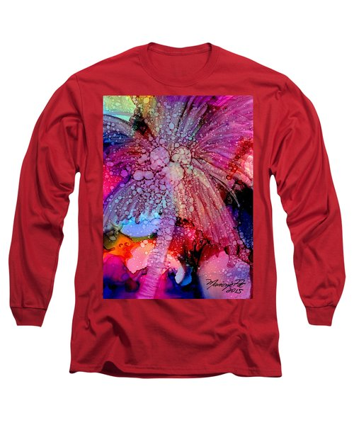 Long Sleeve T-Shirt featuring the painting Coconut Palm Tree 4 by Marionette Taboniar