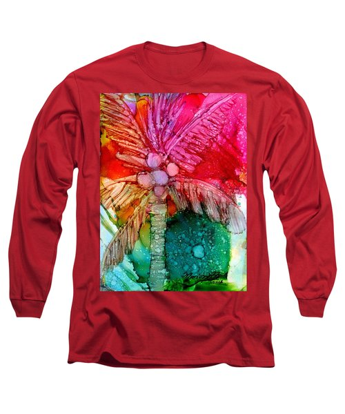 Long Sleeve T-Shirt featuring the painting Coconut Palm Tree by Marionette Taboniar